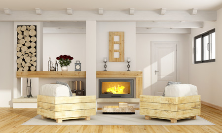 livingroom: Rustic room with fireplace and two pallet armchair - 3D Rendering Stock Photo