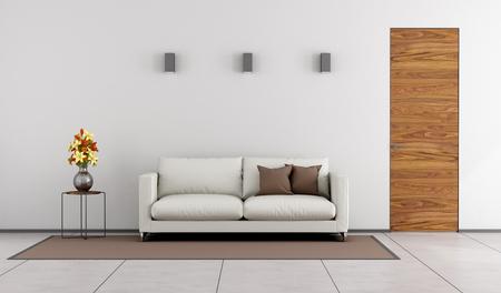 Minimalista salotto con porta di legno e divano bianco sul tappeto - rendering 3D