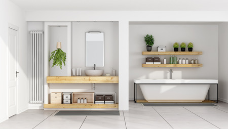 木製の棚とバスタブ - 3 D シンクと現代的な白い浴室のレンダリング 写真素材
