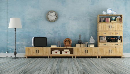 Vintage living room with wooden wall unit and small television - 3D Rendering