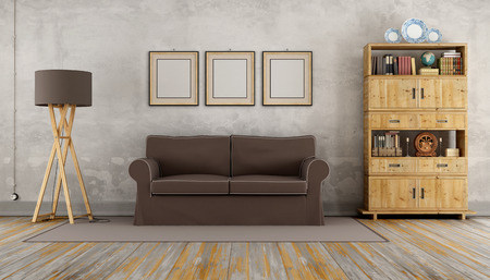 vintage living room: Vintage living room with brown sofa and wooden bookcase - 3D Rendering Stock Photo