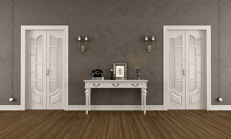 old furniture: Brown classic room with  two closed doors and elegant console table - 3D Rendering Stock Photo