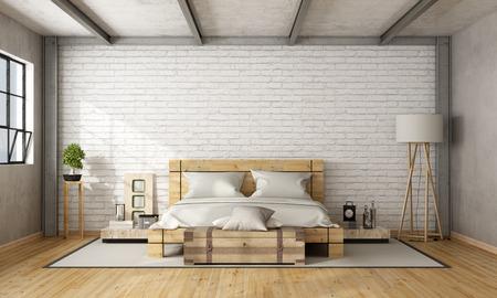 Деревянная двуспальная кровать в лофте с кирпичной стеной и железными балками - 3D рендеринг