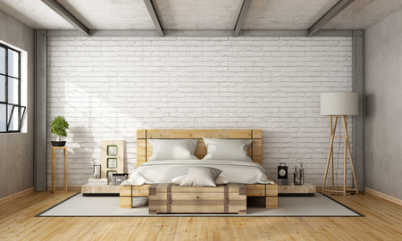 Wooden double bed in loft with brick wall and iron beams - 3D Rendering