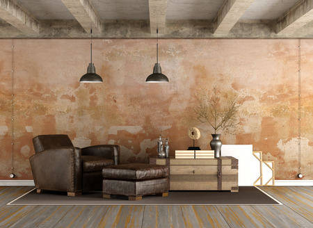 Grunge Living room with vintage armchair, old wall and concrete beams - 3D Rendering Imagens - 54278387