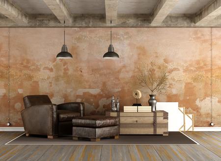Grunge Wohnzimmer mit Vintage-Sessel, alte Mauer und Betonbalken - 3D-Rendering Standard-Bild - 54278387