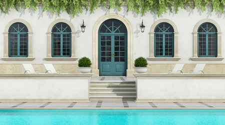 holiday villa: Luxury holiday villa in classic style with Pool -3D Rendering