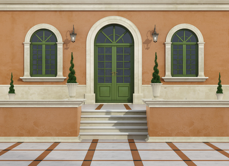 pilaster: Outdoor entrance of a classic villa with stair, arch door and windows - 3D Rendering