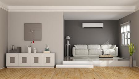 aire acondicionado: sala de estar dos niveles moderna con sofá, aparador y conditioner- aire de la representación 3D