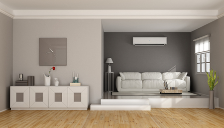 room air: Two levels modern living room with sofa , sideboard and air conditioner- 3D Rendering Stock Photo