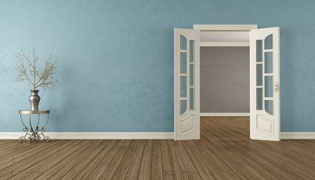 stucco: Classic empty interior with open door - 3D Rendering