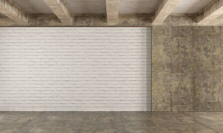 dirty room: Grunge room with brick wall ,concrete beams and dirty cement floor - 3D Rendering Stock Photo