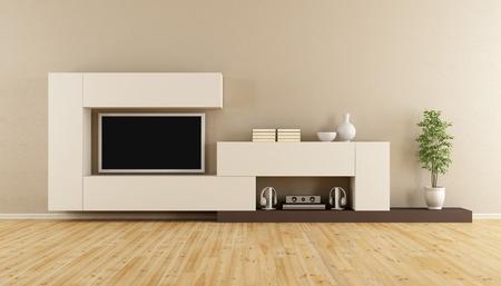 Гостиная с блоком и стеной телевизор - 3D рендеринг