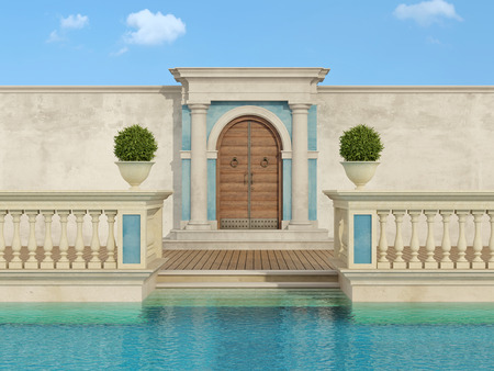 luxury swimming pool with classical balustrade and access portal with column and wooden door - 3D Rendering