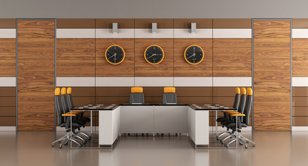 office wall: Contemporary boardroom with woden paneling,two doors and meeting table - 3D Rendering Stock Photo