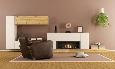 salon moderne avec cheminée décorative et un fauteuil vintage - Rendu 3D