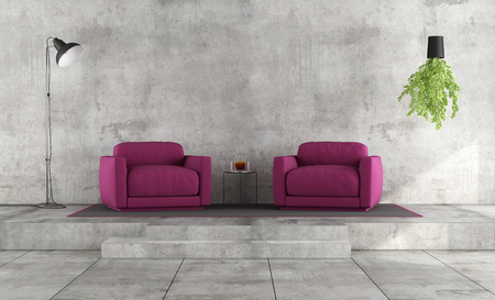 living room wall: Minimalist living room with grunge concrete wall and purple armchairs on platform - 3D Rendering
