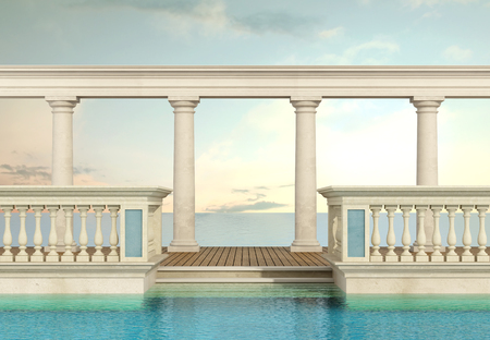 balustrade: luxury swimming pool with classic balustrade and colonnade overlooking the sea - 3d Rendering