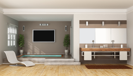 washbasin: luxury bathroom with sunken bathtub double washbasin and tv set - 3D Rendering Stock Photo