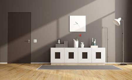 sideboard: Brown modern livingroom with sideboard and closed door - 3D Rendering