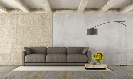 hardwood: Grunge room with modern brown couch,concrete beams and dirty wooden floor - 3D Rendering Stock Photo