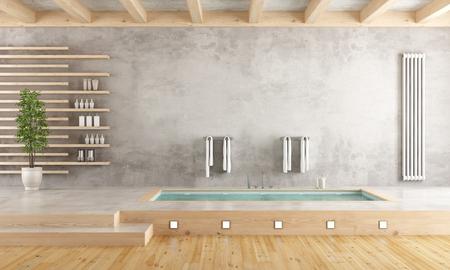 sunken: Minimalist bathroom with sunken bathtub on cement platform - 3D Rendering