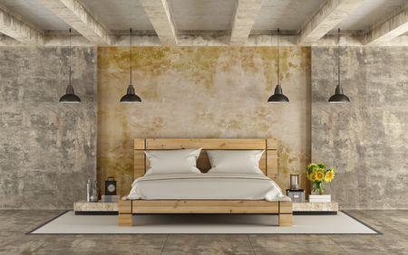 cement floor: Wooden double bed in grunge room with concrete walls and cement beams - 3D Rendering