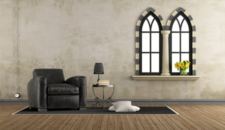 vintage living room: Retro vintage living room with leather armchair and two gothic windows - 3D Rendering Stock Photo