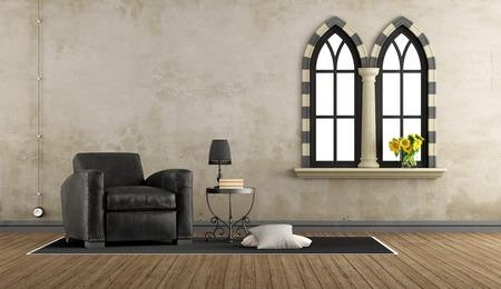 3d Fußboden Wohnzimmer ~ Vintage wohnzimmer mit holzsessel und dekor objekte auf fußboden