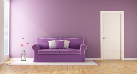 room door: Purple living room with elegant sofa and closed door - 3D Rendering