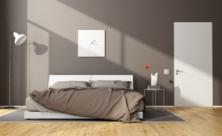 Brown modern bedroom with white double bed and closed door - 3D Rendering Stock Photo