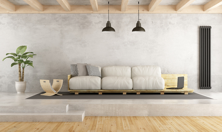 platforms: Contemporary living room with pallet sofa on cement platform - 3D Rendering Stock Photo