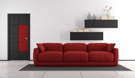 Contemporary living room with red couch and closed door - 3d rendering Stok Fotoğraf