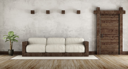 stucco: Living room in rustic style with wooden couch and old wooden door - 3d Rendering