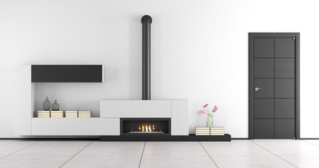 Black and white living room with fireplace and closed door - 3d rendering