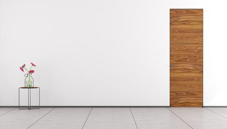 room door: Empty room with wooden door and table with flowers - 3d rendering