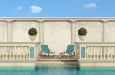 3d swimming pool: luxury swimming pool with classic balustrade and colonnade - 3d Rendering