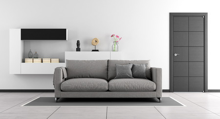 living room design: Black and white living room with sofa,wall unit and closed door - 3d Rendering