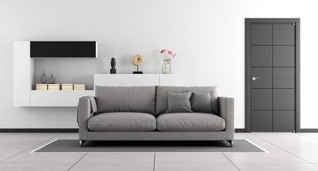 Schwarz-Weiß-Wohnzimmer mit Sofa, Schrankwand und geschlossene Tür - 3D-Rendering