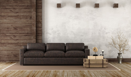 Home interior in rustic style with leather couch and old wooden paneling - 3d Rendering Stock Photo