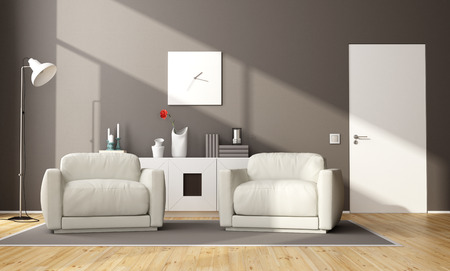 sideboard: Modern brown living room with two armchair,sideboard and closed door - 3d rendering Stock Photo