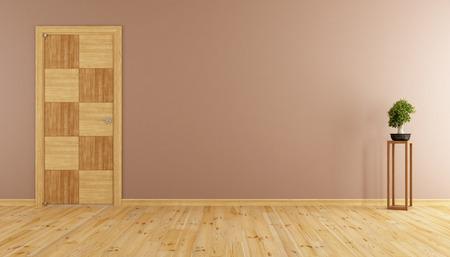 room door: Empty room with closed wooden door and bonsai - 3d rendering Stock Photo