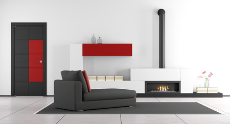 room door: Contemporary living room with fireplace,chaise lounge and closed door - 3d rendering
