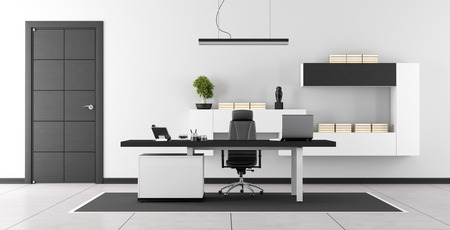 office wall: Black and white modern office with closed door and wall unit on wall - 3d rendering Stock Photo