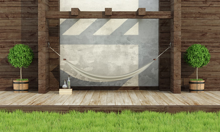 wood grass: Garden in rustic style with wooden wall and hammock- 3d rendering Stock Photo
