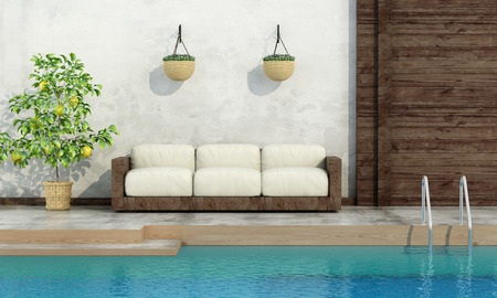 lemon tree: Pool in rustic style with wooden sofa and lemon tree - 3d rendering Stock Photo