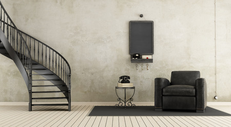 stucco: Vintage room with staircase and leather armchair - 3d rendering