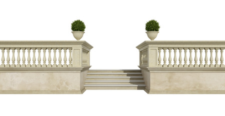 balustrade: Classic balustrade with stair isolated on white - 3d rendering
