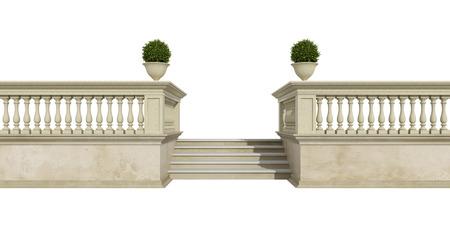 balaustrata classico con scala isolato su bianco - rendering 3D