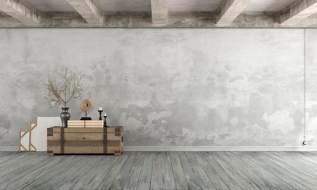 Grunge Wohnzimmer mit alten Mauer, Holzkiste auf dem Boden und Betonbalken - 3D-Rendering
